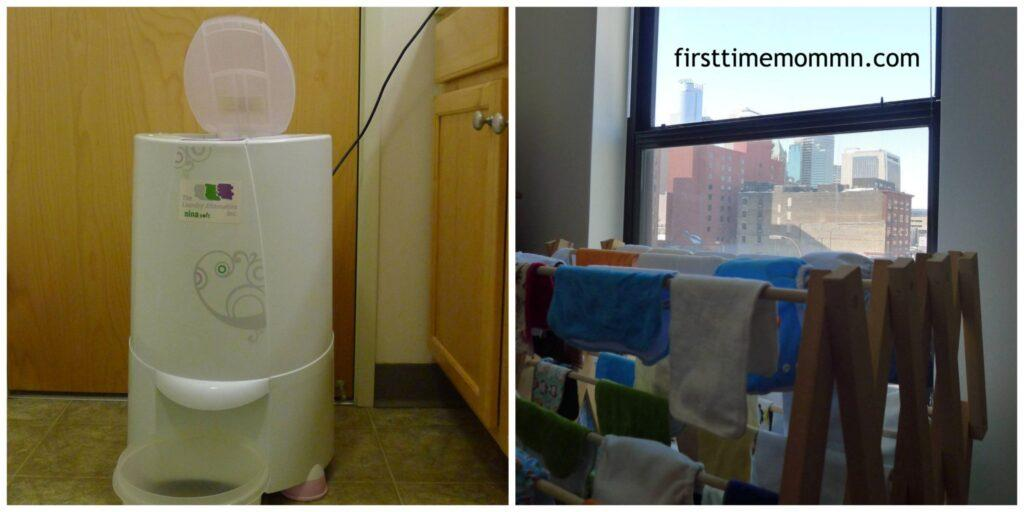 Hand Washing Cloth Diapers Drying