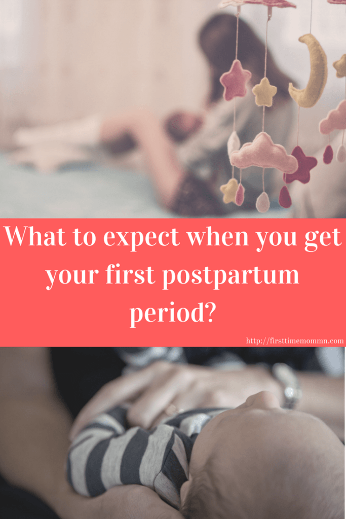 What to expect when you get your first postpartum period. Pin now so I'm prepared later.