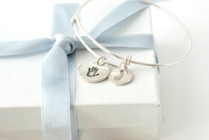 Adjustable Handprint and Initial Bangle from Silver Sculptor