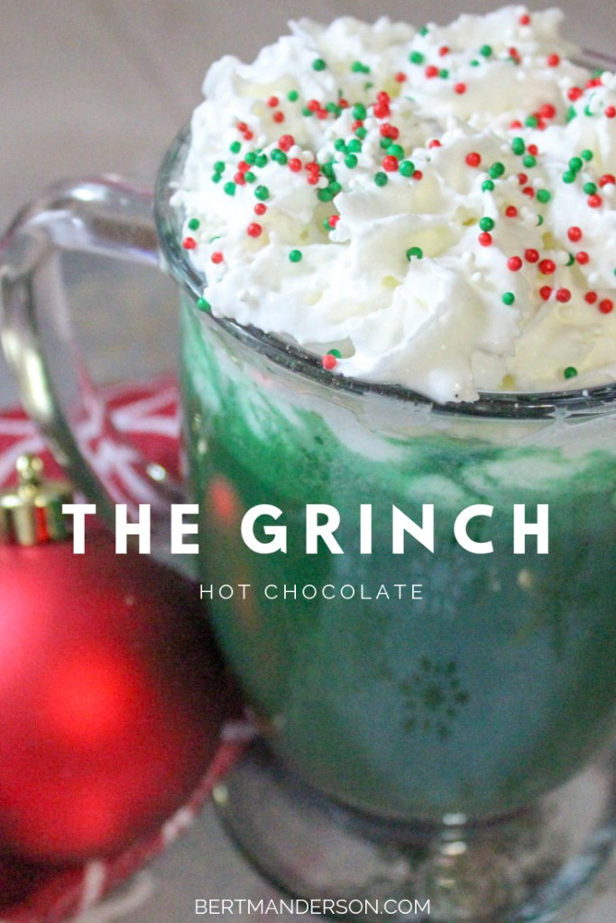 THE GRINCH Hot Chocolate recipe. Easy to make and the perfect holiday kid-friendly drink! #thegrinch #christmas #holidays #drink #kidfriendly