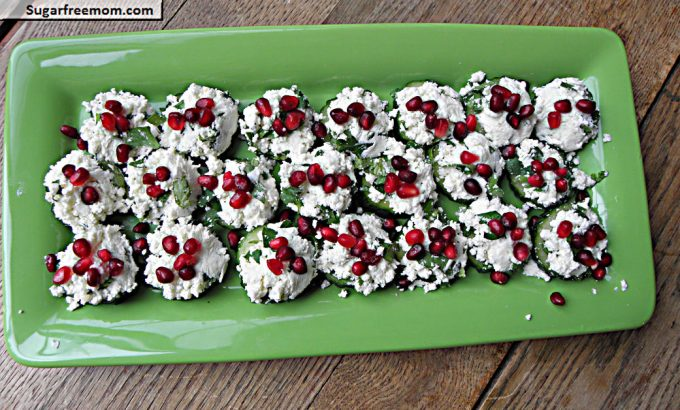 Pomegranate Cheese Cucumber Bites Low Carb Easter Appetizer