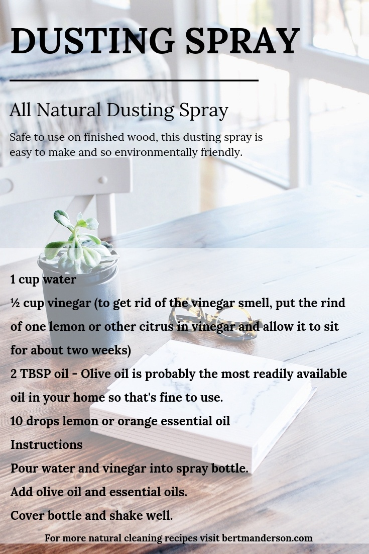 All natural homemade dusting spray. Easy to use and cheap to make! #natural #greencleaning #diy
