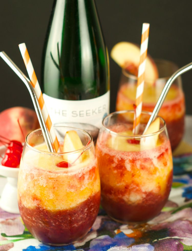 Peach and Cherry Slushies Frozen summer drinks