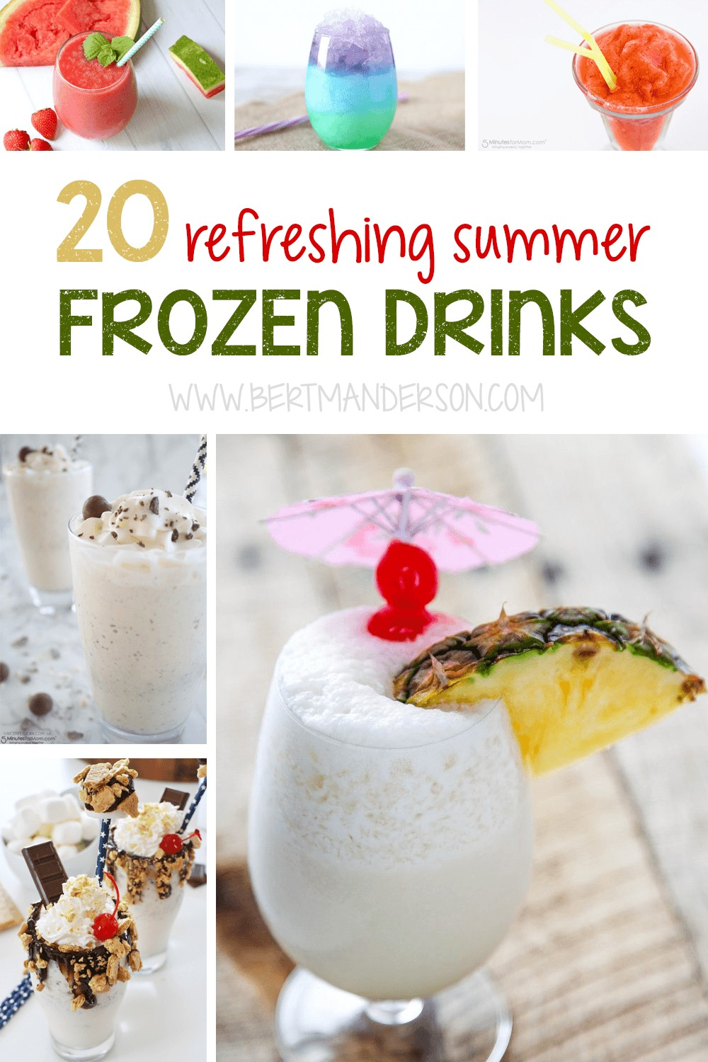 20 refreshing summer frozen drinks for adults and kids. Plus, a guide on how to add liquor to any frozen drink based on the flavor profile. #frozendrinks #cocktails #nonalcoholic #alcoholic