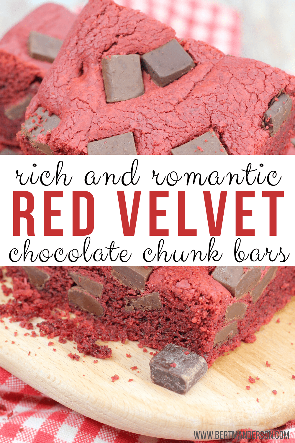 Valentine's Day Red Velvet Chocolate Chunk Bars. Easy and absolutely perfect for Valentine's Day. #dessert #redvelvet #valentinesday #chocolate